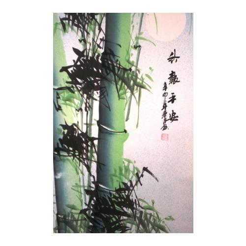 Large Chinese wall scroll with bamboo trees,