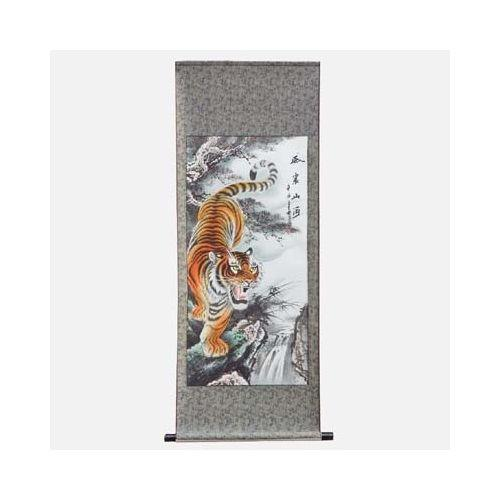 Hanging Chinese tiger scroll with an oriental roller,