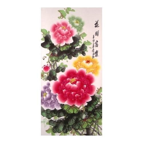 Chinese Peony flower silk brocade wall scrolls,