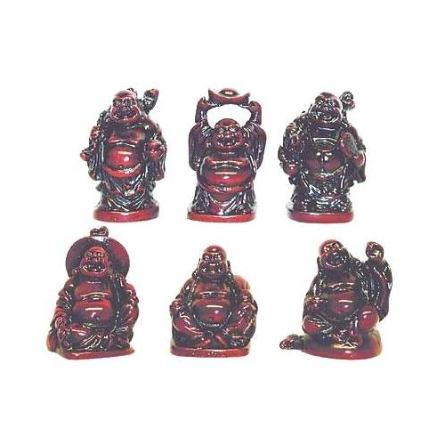 Set of six red lucky Buddha's in an oriental gift box,