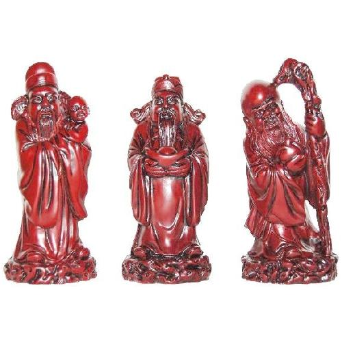 Chinese star god statues in a feng shui gift box,