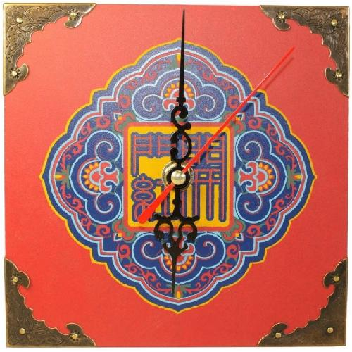 Wooden feng shui clock with good fortune symbols,