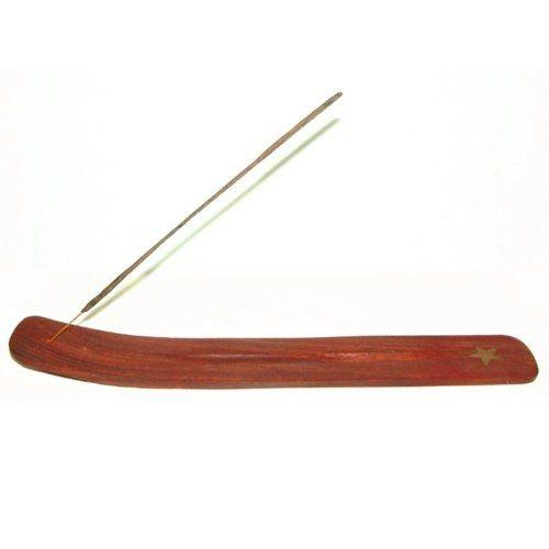 Wooden incense ash catcher with inlaid brass decoration,