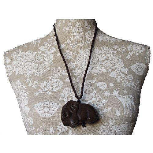 Chinese necklace with a hand carved wooden elephant,