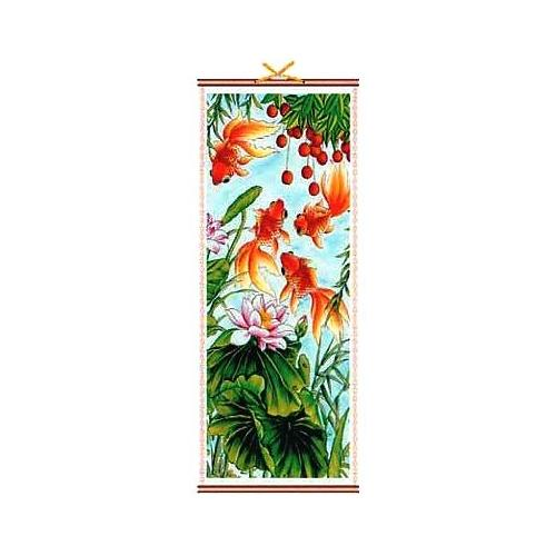 Bamboo and paper picture scroll with Chinese Carp,