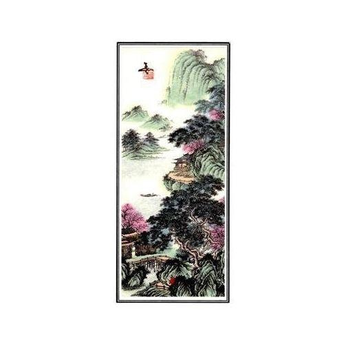 Unframed Chinese watercolour of oriental landscapes,