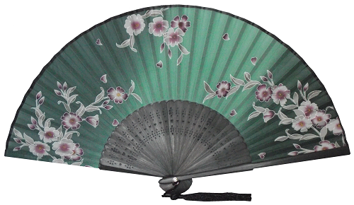Dark green Chinese fans with black bamboo fretwork,