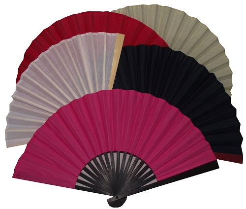 Assorted colourful Chinese fans made from 100% cotton,