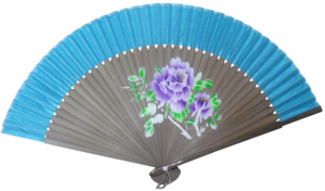 Chinese hand held fan with bamboo and silk fretwork,