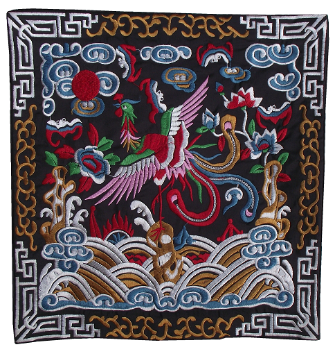 Embroidered Chinese table mats with flowers and phoenix,