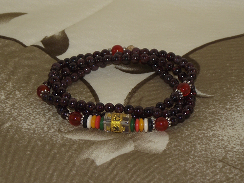 108 bead Mala with Garnet and Red Carnelian gemstones,