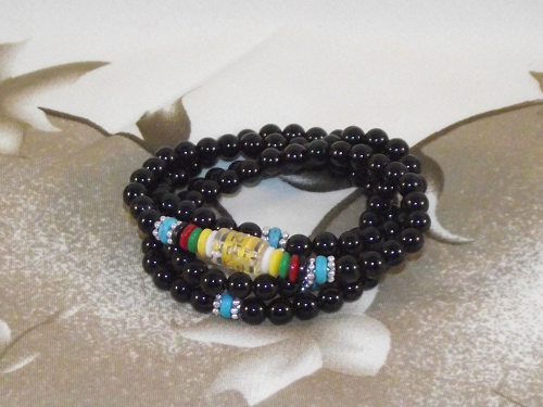 108 bead wrist Mala with black onyx crystal gemstones,