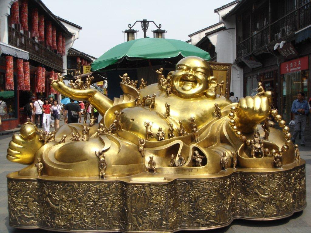 Large gold happy buddha statues and figurines,