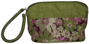 Chinese style cosmetic cases with silk brocade floral patterns,
