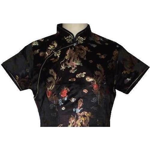 Ladies black Chinese dress with silk brocade dragon and phoenix,
