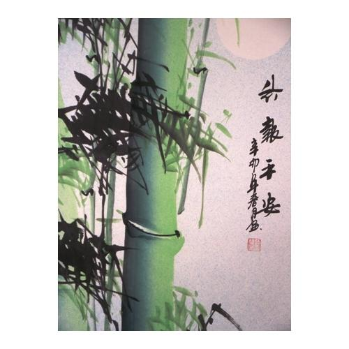 Large hanging wall scrolls with moonlit bamboo,