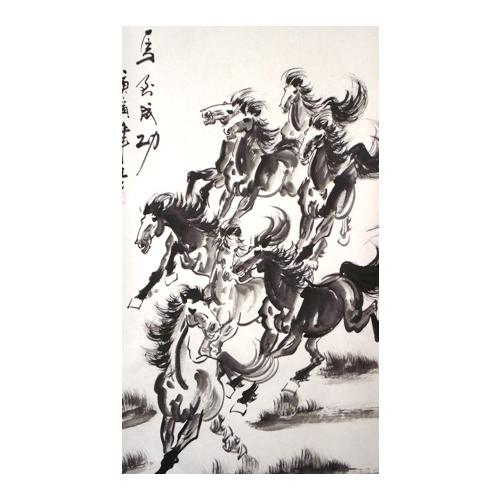Chinese painted wall scroll with eight horses,