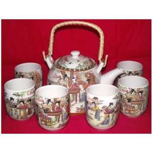 Chinese teaset decorated with colourful oriental ladies,
