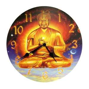 Chinese wall clock with a golden serenity buddha,