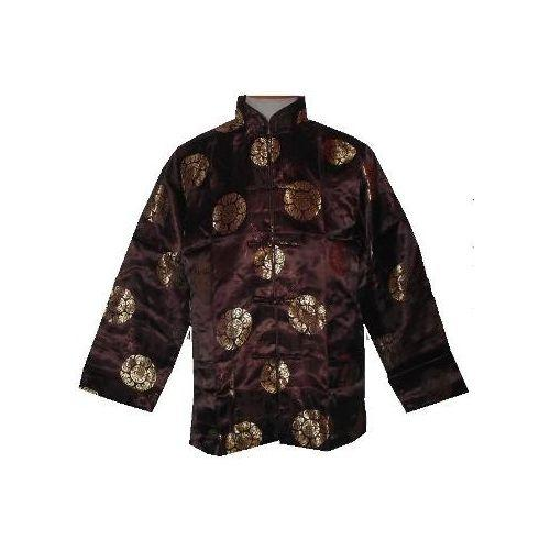 Men's brown Chinese jackets with gold longevity symbols,