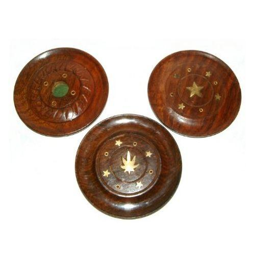 Wooden disc shaped ash catchers with brass inlay,
