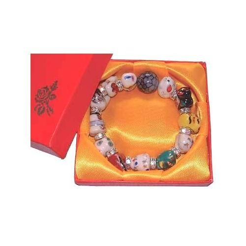 Chinese charm bracelets with silver colour spacers,