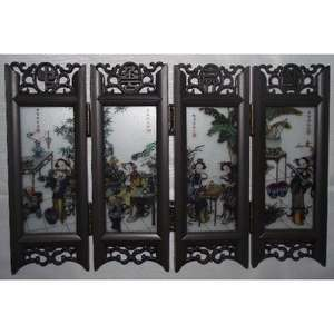 Chinese miniature screens with painted oriental ladies,