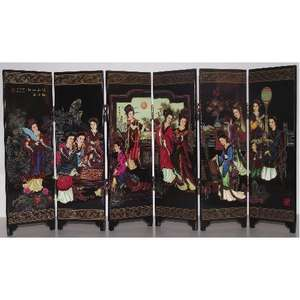 Chinese tabletop screen with the 12 beauties of Jinling,