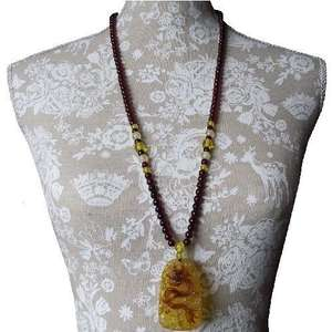Oriental necklace with a Chinese snake dragon pendant,