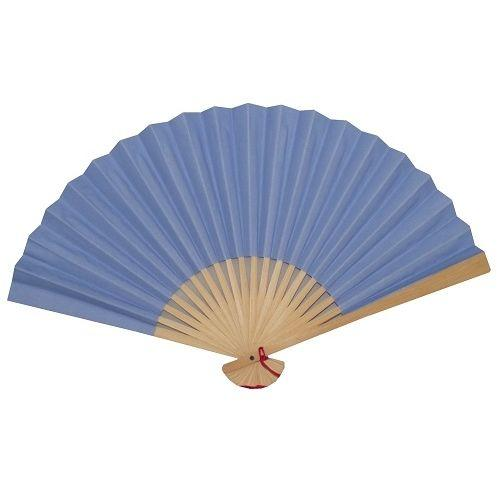 Blue Chinese paper fans with bamboo fretwork,
