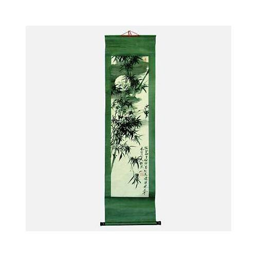 Chinese wall scroll with bamboo trees under moonlight,