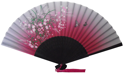 Pink silk hand held Chinese fan with ferns and blossoms,
