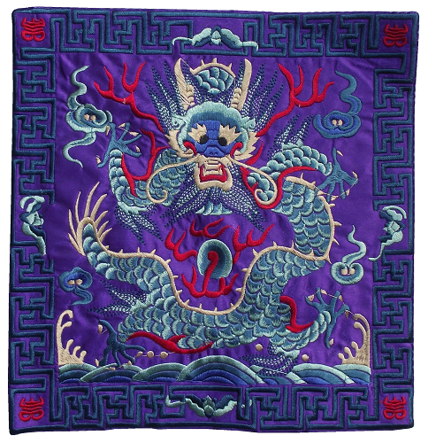 Colourful embroidered Chinese dragon place mats,