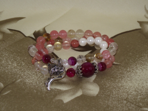 Chinese gemstone bracelets with a silver fox charm,