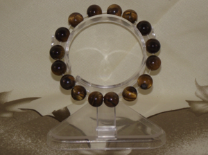 Tigers eye crystal quartz bracelets on elasticated wristbands,