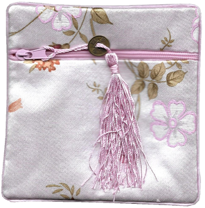 Pink Chinese coin purse with a plum blossom pattern,