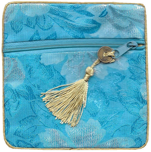 Chinese silk purse with a gold lucky knotted tassel,