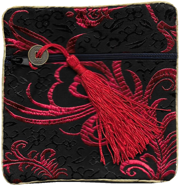Chinese silk purses with red lucky coin tassels,