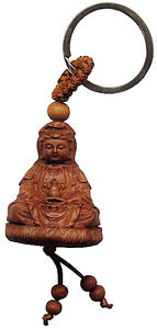 Guan Yin Buddha key ring made from Peach fruitwood,