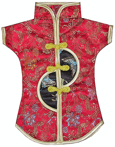 Chinese style wine bottle jacket decorated with oriental butterflies,
