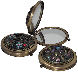 Vintage Chinese style compact mirrors with floral patterns,