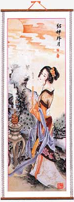 Chinese four beauties picture wall scroll,