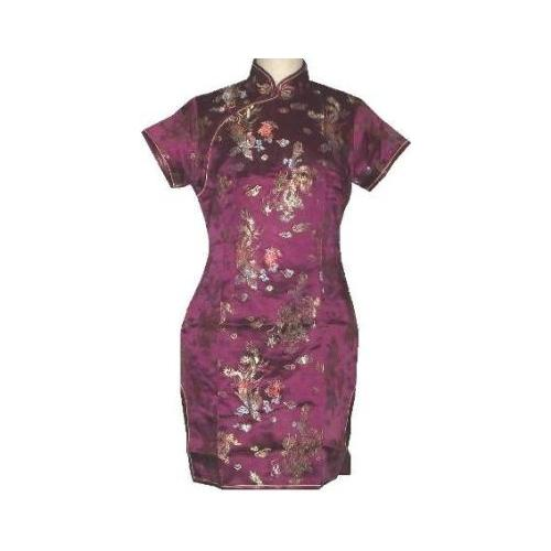 Burgundy colour Chinese dress with dragon and phoenix figures,