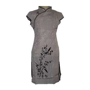 Short Chinese dress with embroidered birds and blossoms,