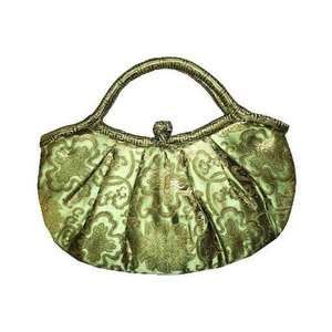 Green Chinese handbags with gold floral patterns,