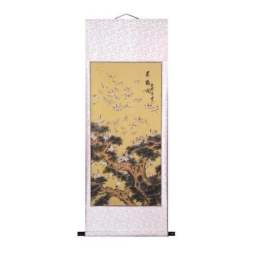 Chinese wall scrolls with colourful 100 Cranes,