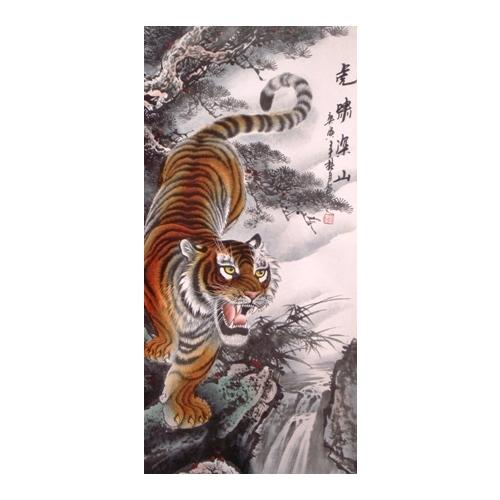 Silk brocade wall scrolls with painted Chinese tigers,