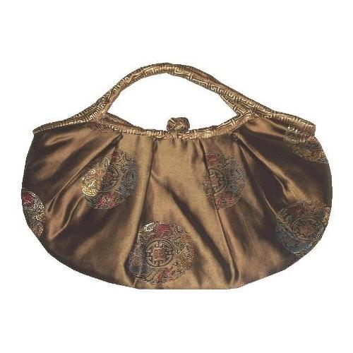 Gold Chinese silk bags with dragon and phoenix patterns,