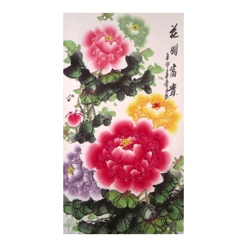 Hanging Chinese wall scroll with colourful peony flowers,