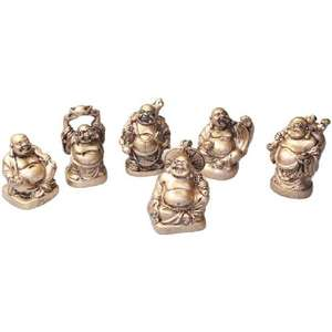 Set of six buddha's made from gold colour resin,